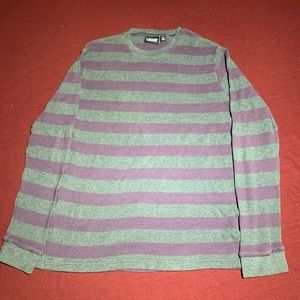 Vans Gray/Purple Striped Waffle Sweater XL